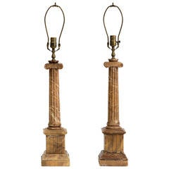Pair of Marble Column Lamps