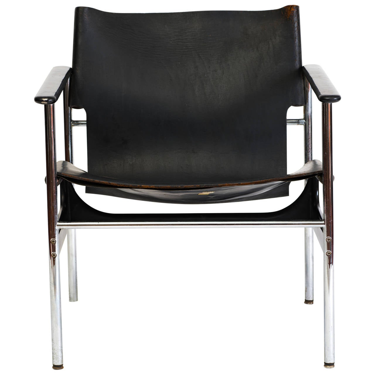 Charles Pollock Leather Sling Armchair Model 657 For Sale