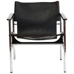 Charles Pollock Leather Sling Armchair Model 657