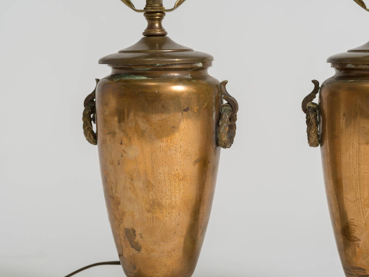 Pair of Classical Bronze Urn Lamps For Sale 1