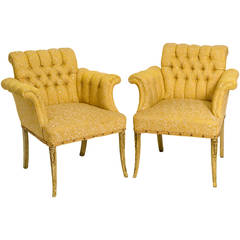 Pair of 1940s Hollywood Regency Tufted Lounge Chairs