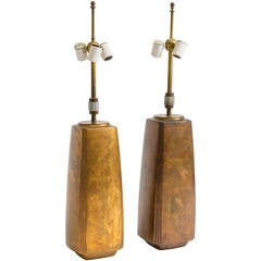 Pair of Bronze Tapered Column Table Lamps by Hansen