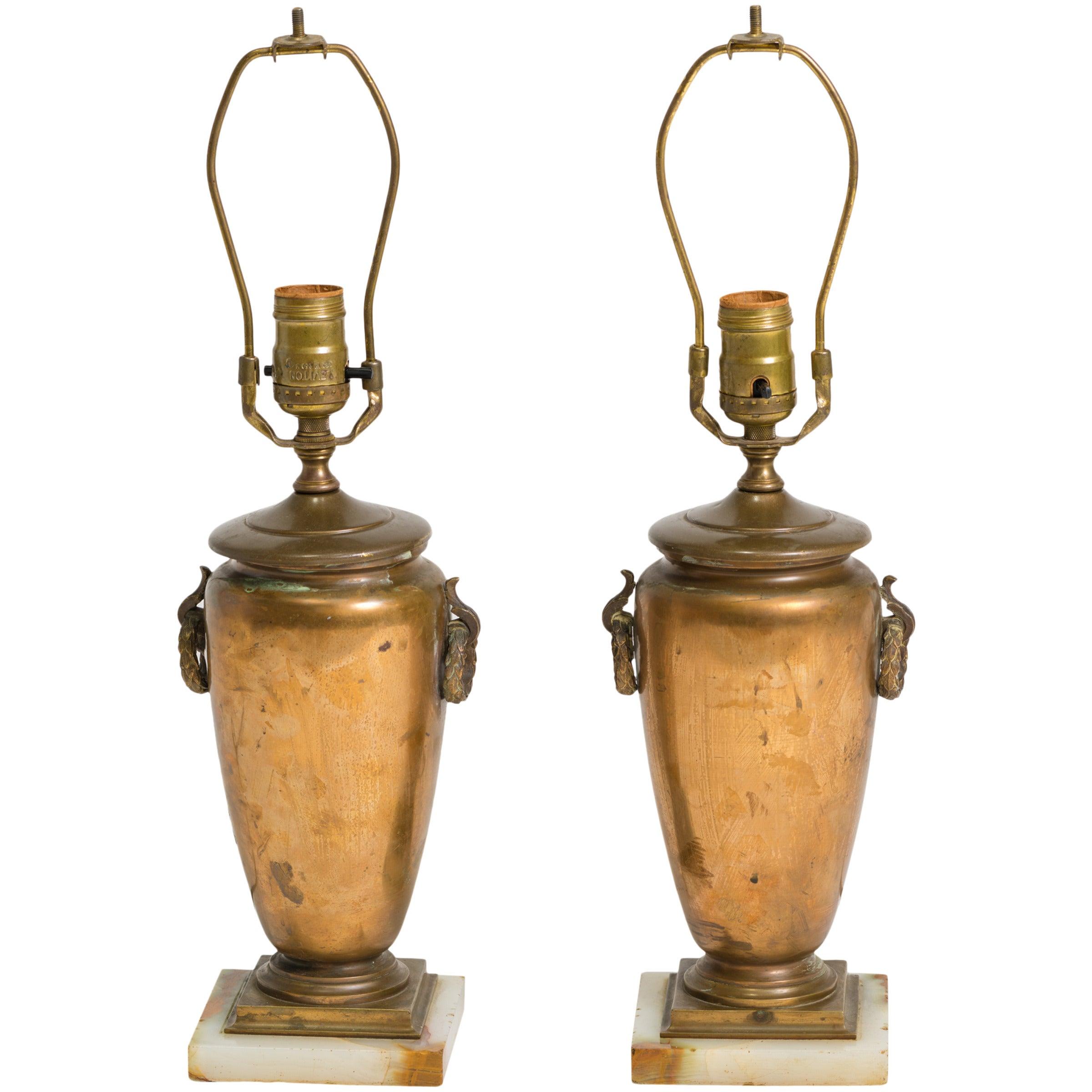 Pair of Classical Bronze Urn Lamps