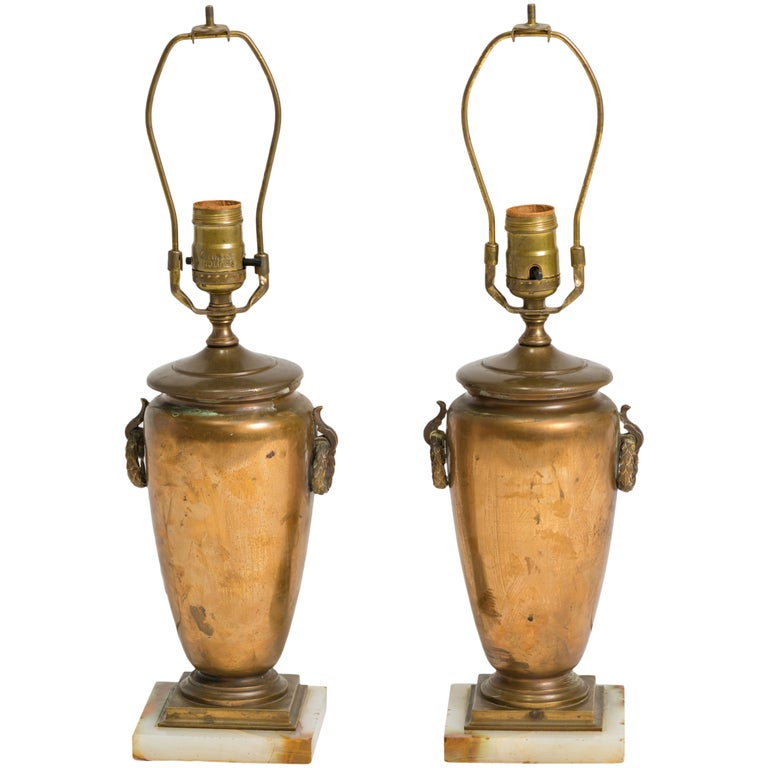 Pair of Classical Bronze Urn Lamps For Sale