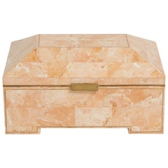 Tessellated Stone Box with Brass Inlay