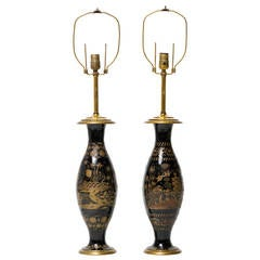 Pair of Brass Etched Asian Motif Table Lamps