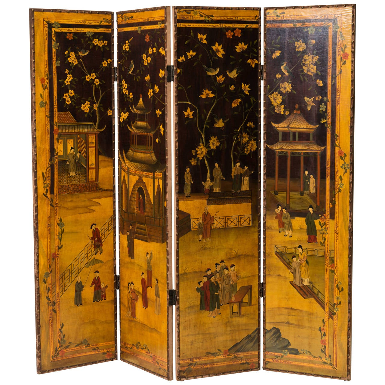Hand painted asian motif room divider for sale at 1stdibs for Painted screens room dividers