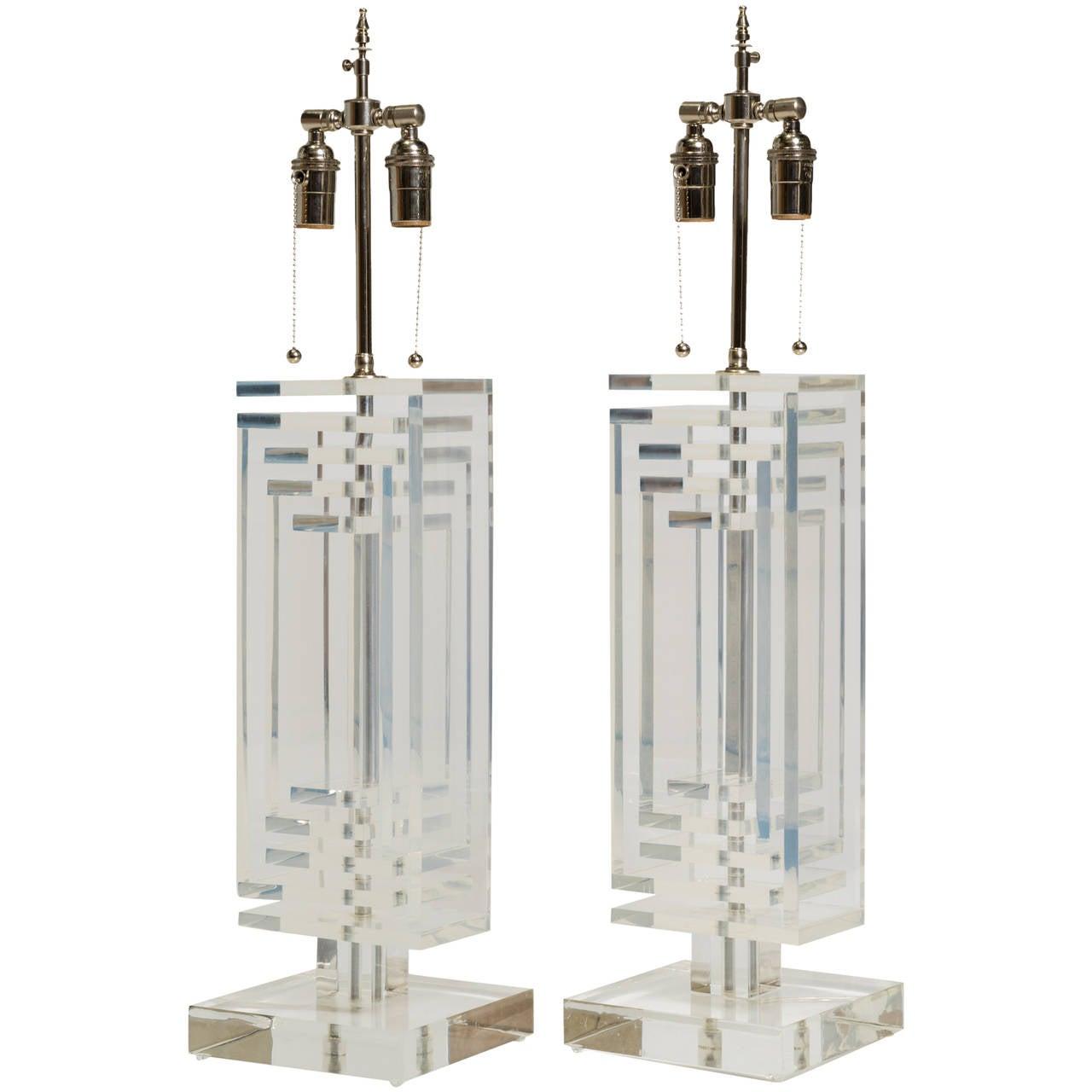 Pair of Midcentury Lucite Lamps