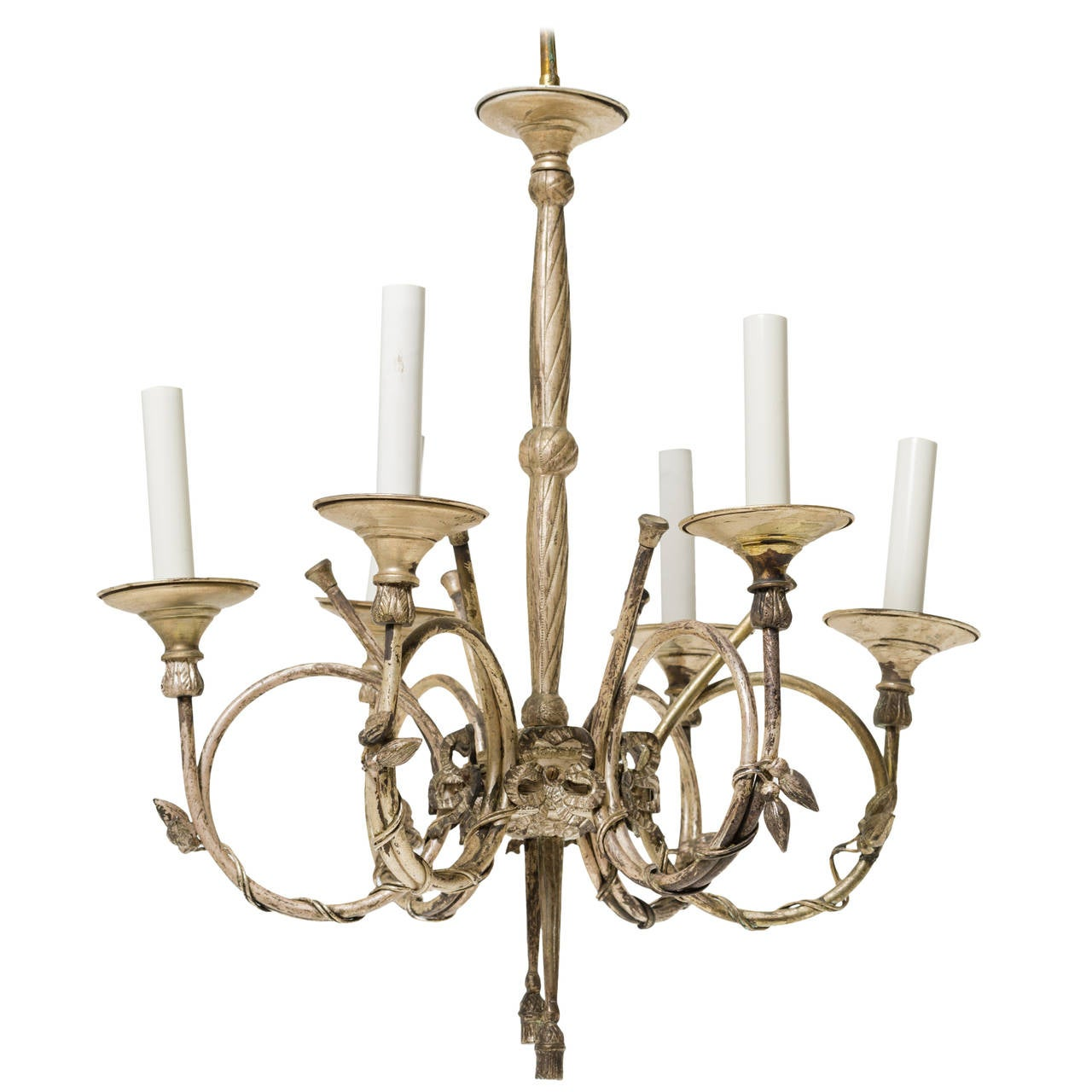 french style silvered chandelier with french horns for sale at 1stdibs. Black Bedroom Furniture Sets. Home Design Ideas