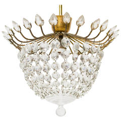 Petit Crystal and Brass Semi-Flush Mount Light Fixture