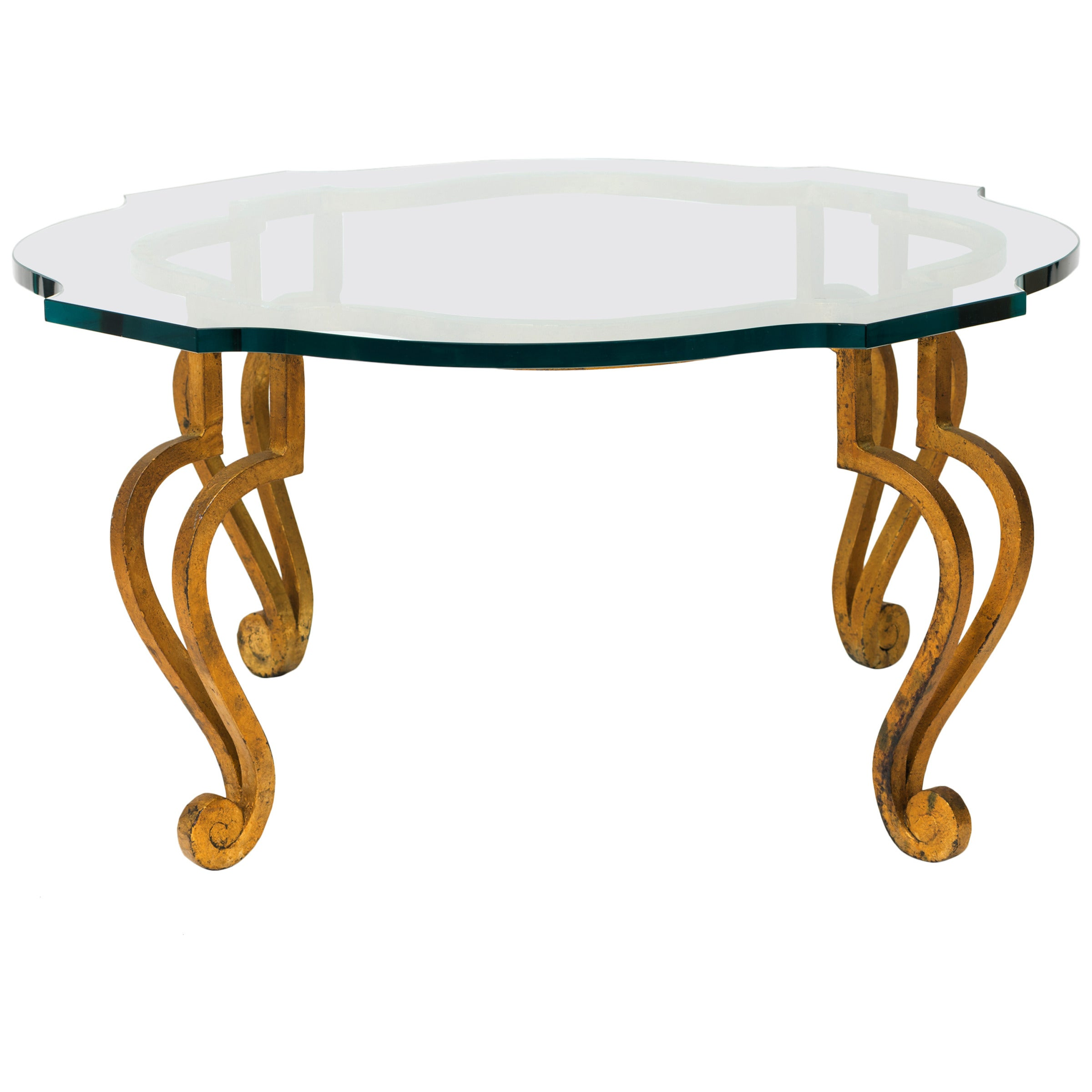Gilt Iron Coffee Table with Scalloped Glass Top