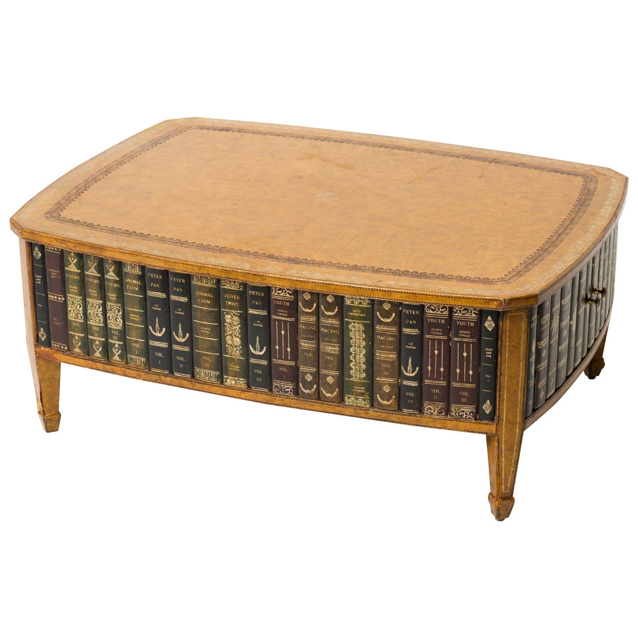 Faux Book Leather Coffee Table At 1stdibs