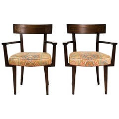 Pair of Wood and Brass Inlay Greek Key Chairs