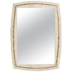 Tessellated Stone Mirror with Brass Inlay by Roche-Bobois