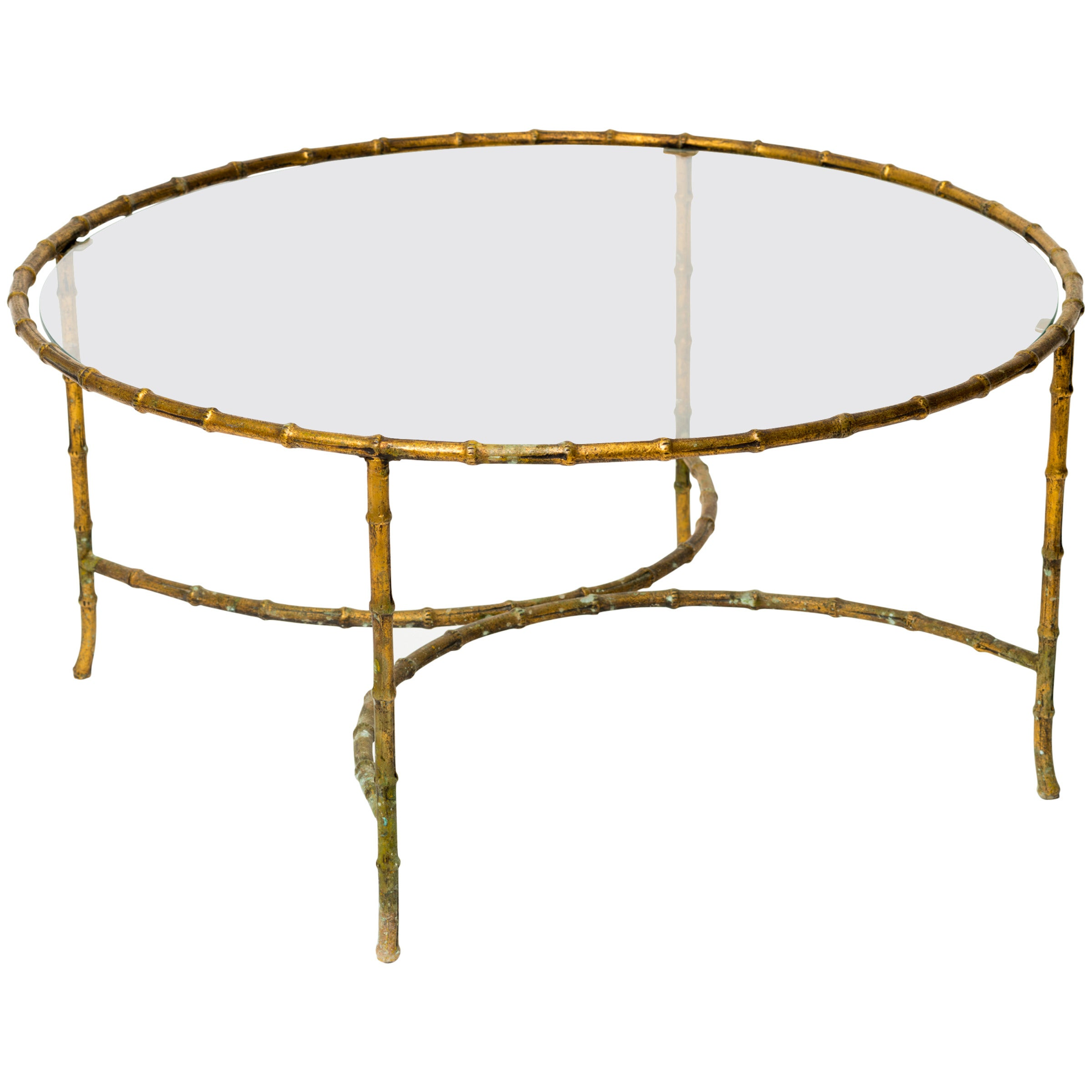 Gilt Iron Faux Bamboo Coffee Table