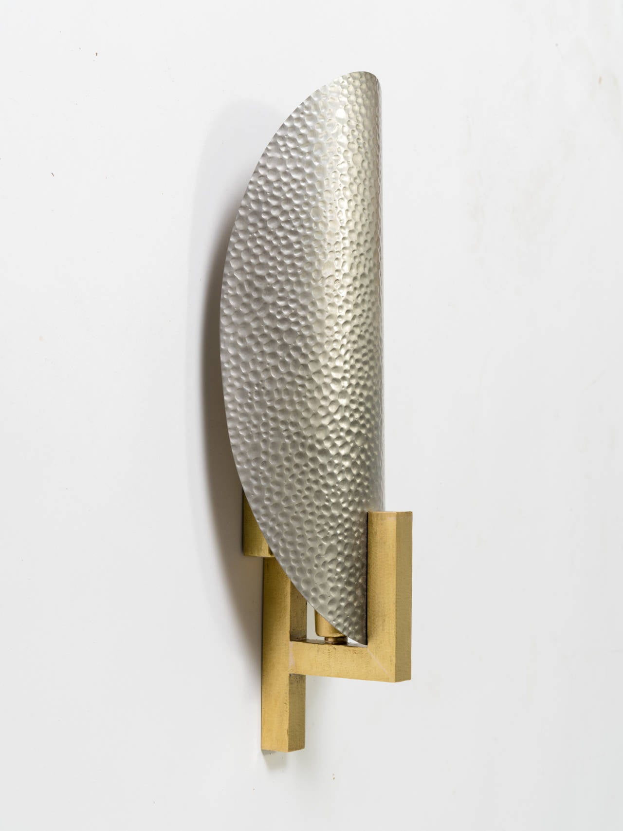 Hammered Metal And Brass Sconces At 1stdibs