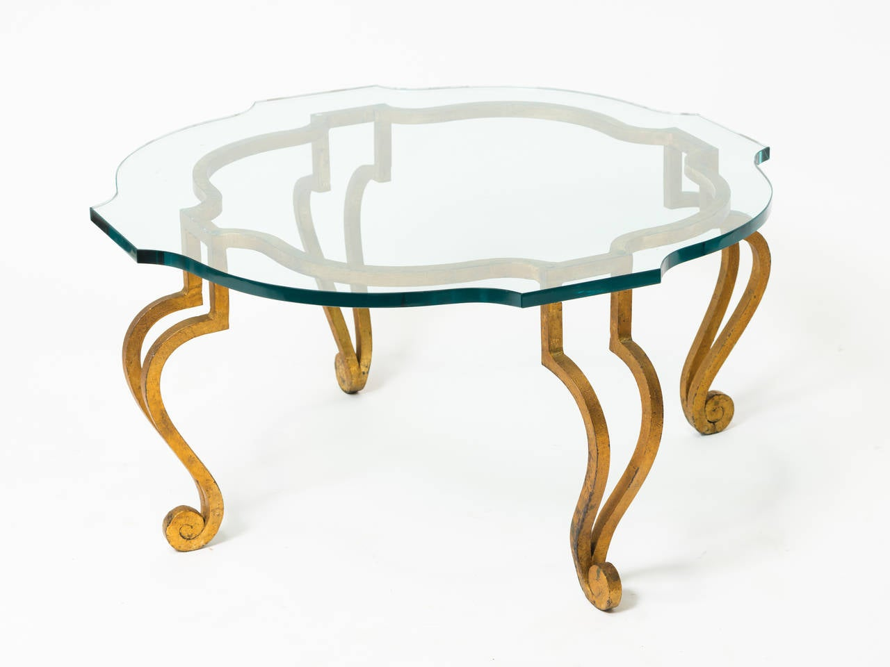 Mid-20th Century Gilt Iron Coffee Table with Scalloped Glass Top For Sale