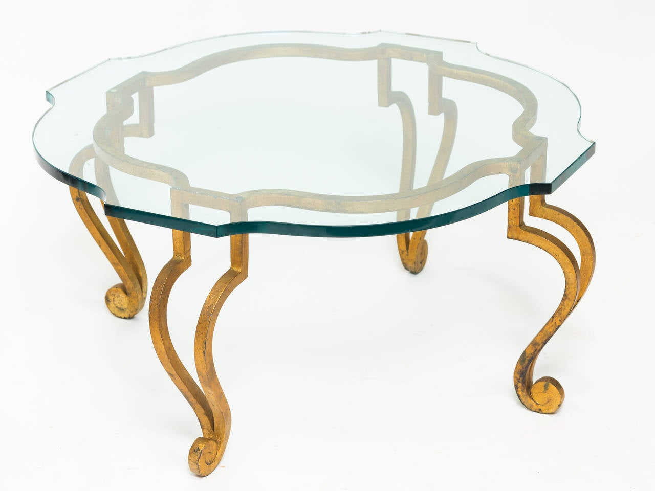 Gilt Iron Coffee Table With Scalloped Glass Top For Sale