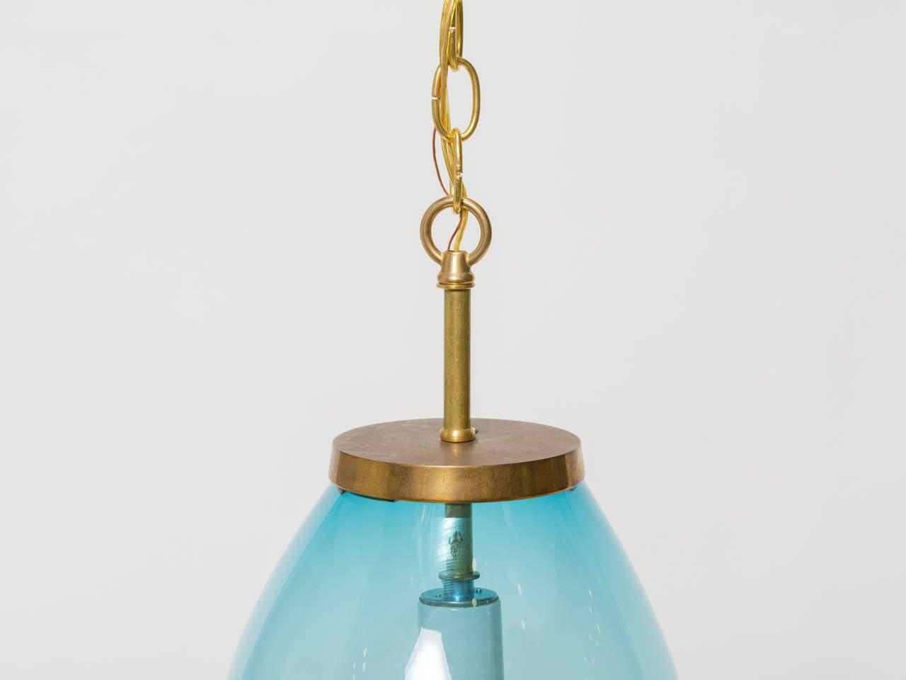 Large Blue Blown Glass Pendant For Sale 1