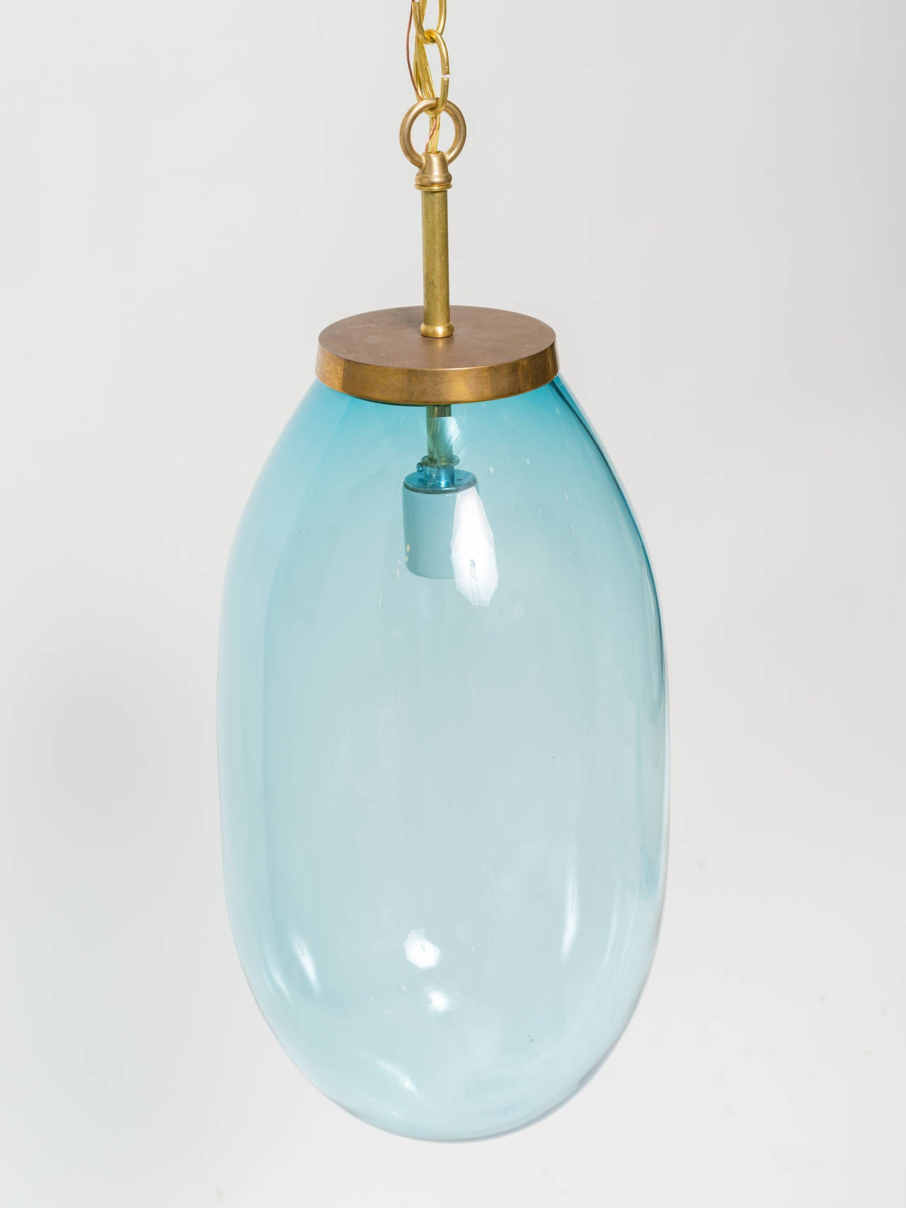 Large Blue Blown Glass Pendant In Excellent Condition For Sale In Tarrytown, NY