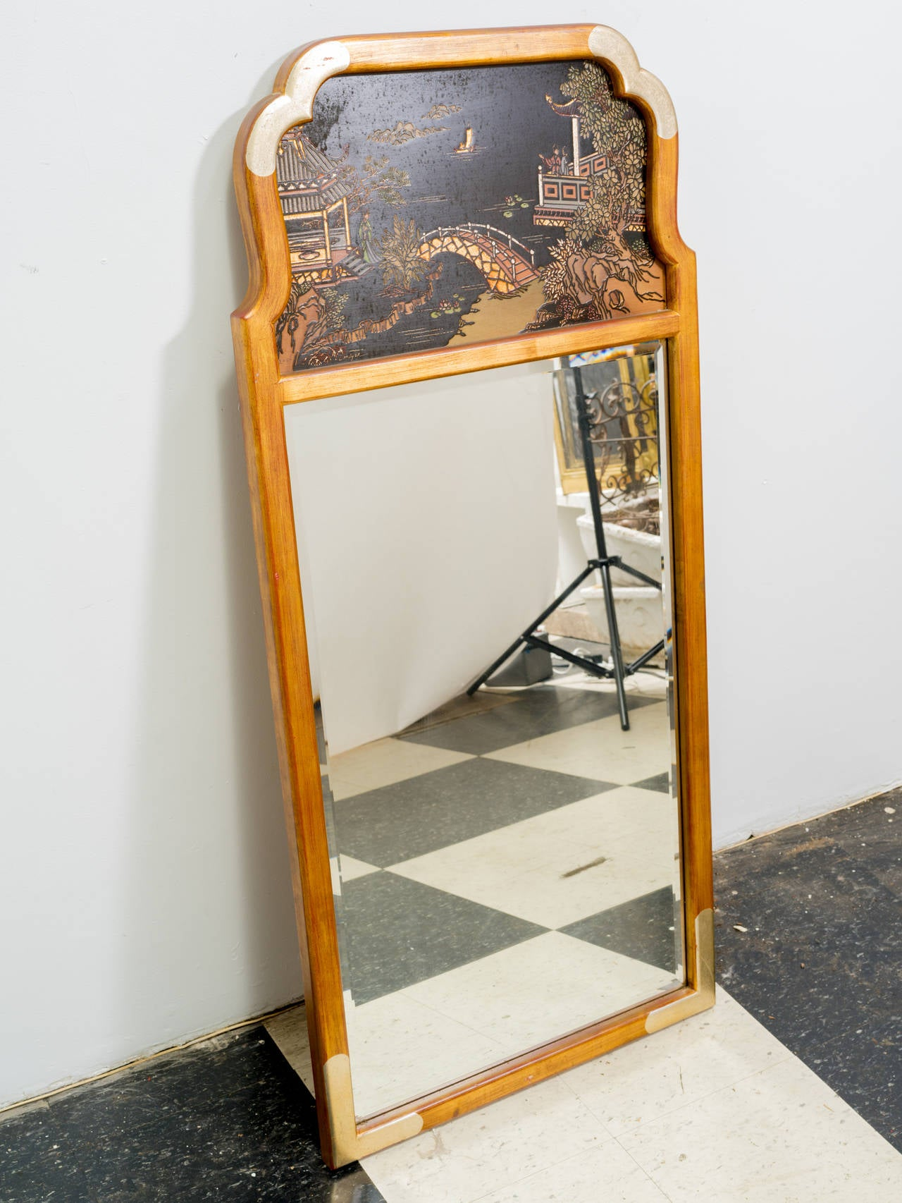 Asian style wall mirror by la barge at 1stdibs for Asian style mirror