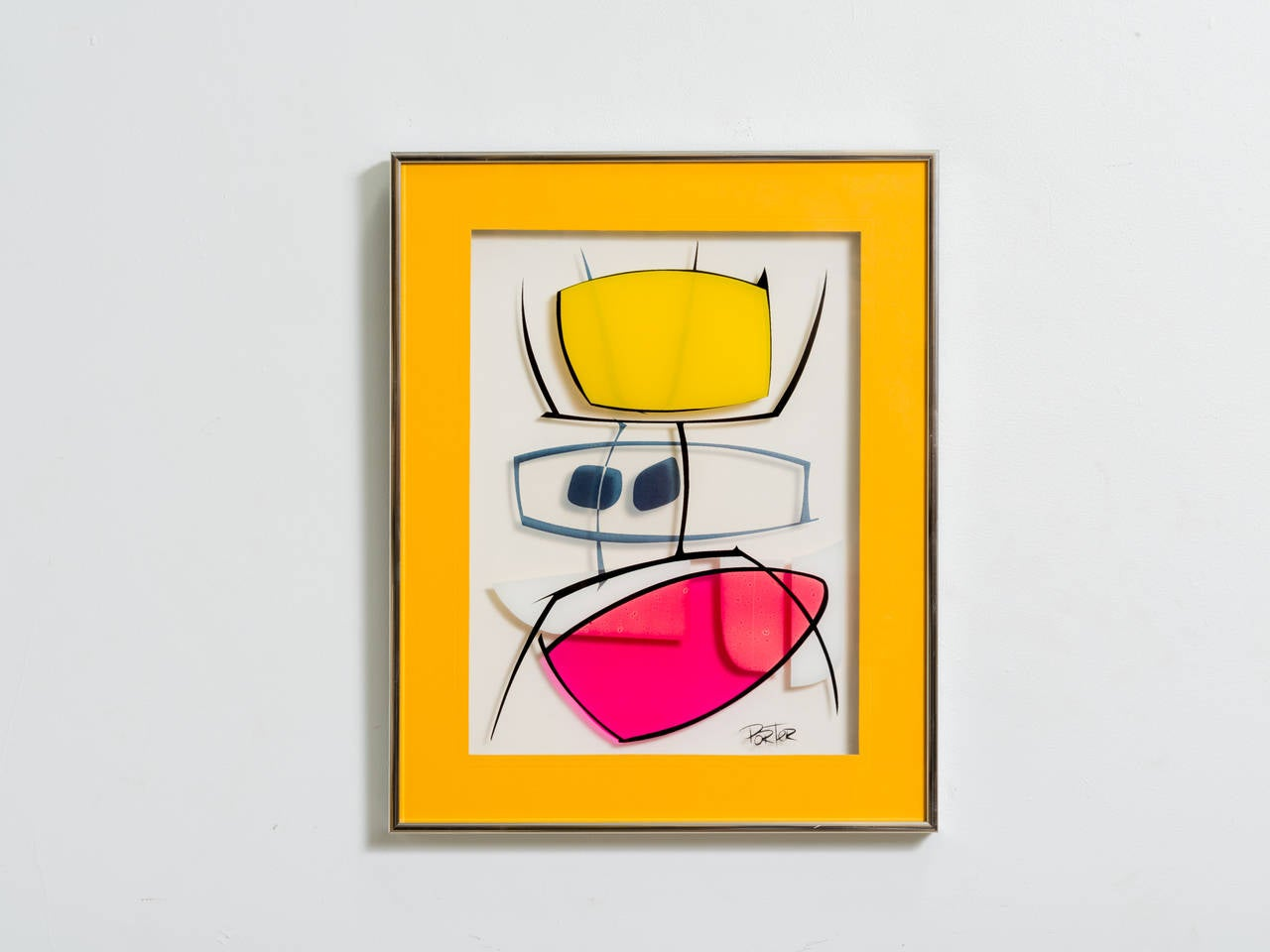Modernist Serigraph on Glass In Good Condition For Sale In Tarrytown, NY