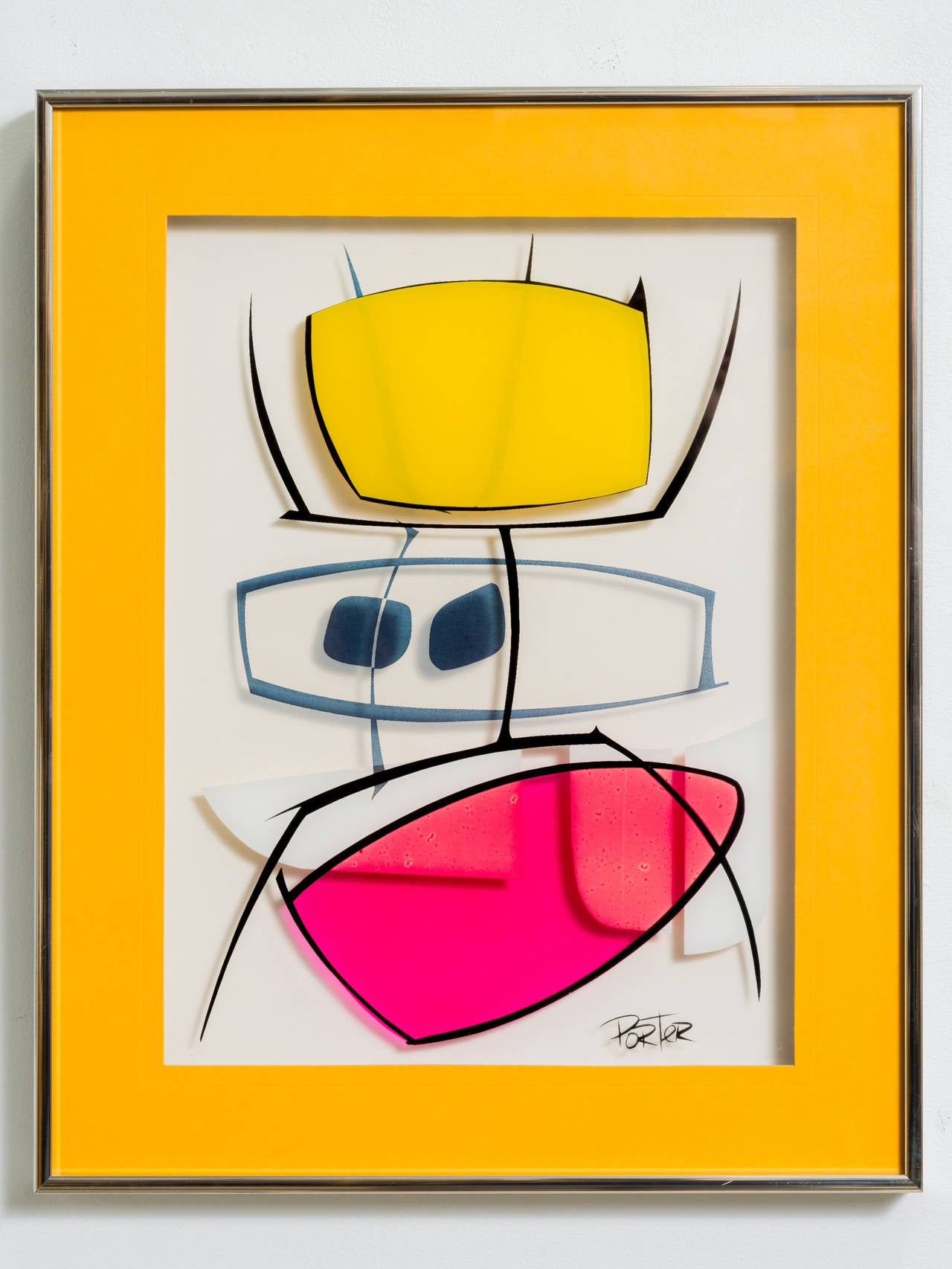 20th Century Modernist Serigraph on Glass For Sale