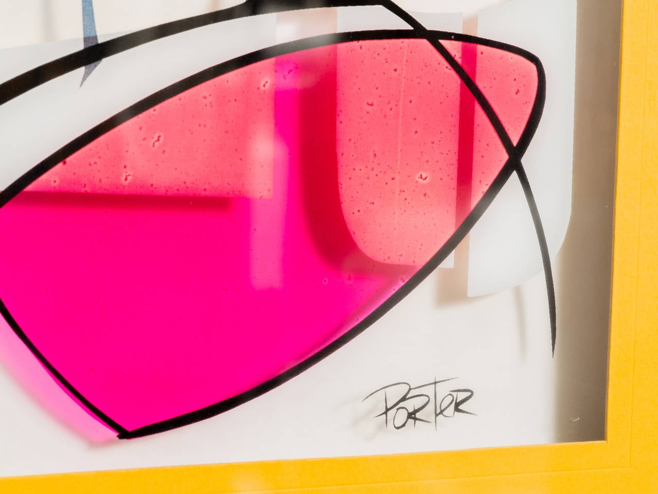 Modernist Serigraph on Glass 3-D geometric abstract featuring yellow and pink highlights on multiple layers of glass.