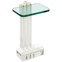 Modern Lucite and Glass Side Table