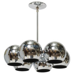 Circular Chrome Chandelier with Six Globular Shades