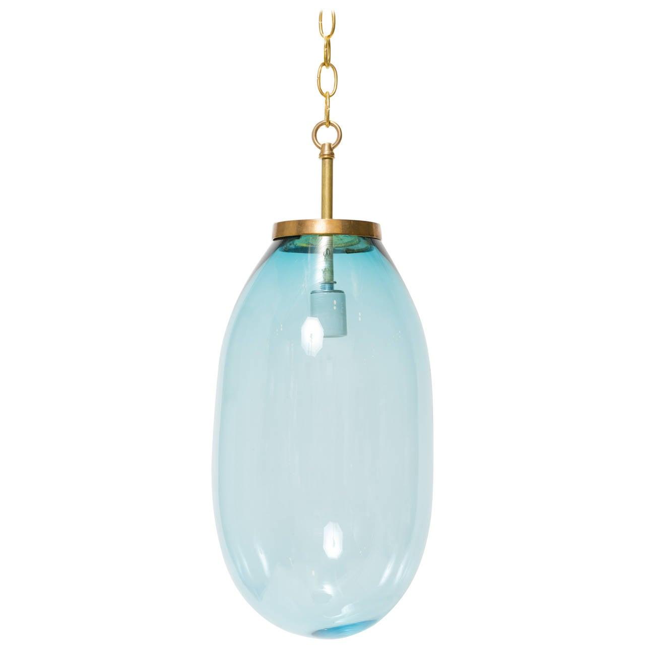Large Blue Blown Glass Pendant For Sale
