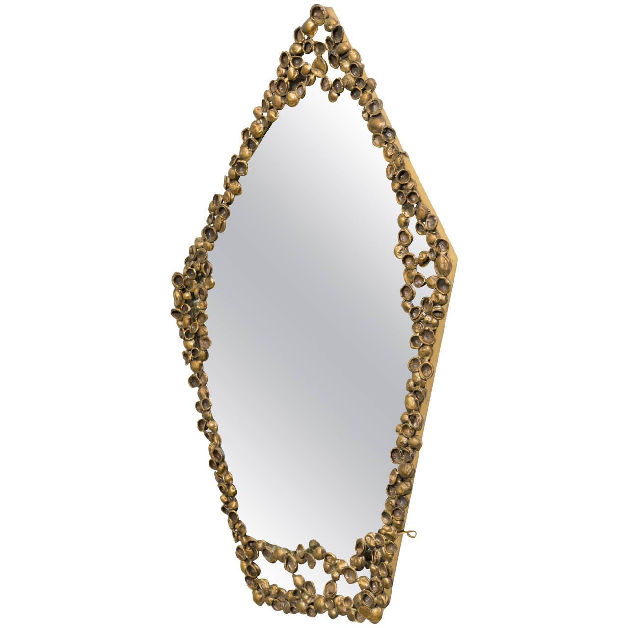 Art Cast Bronze Shell Mirror