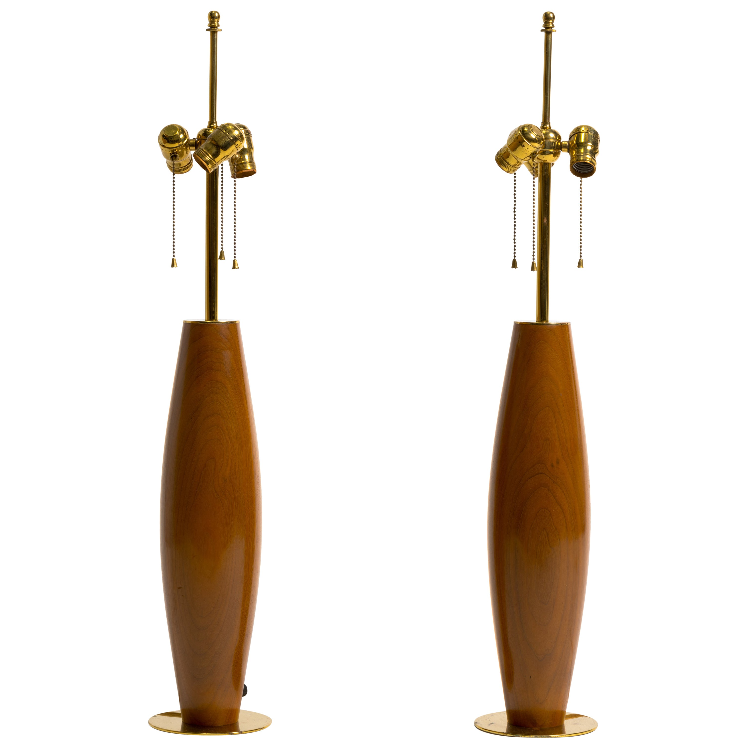 Pair of Monumental Walnut and Brass Table Lamps