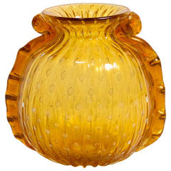 Signed Ribbed Murano Glass Vase