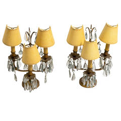 Pair of French Bronze and Crystal Candelabra Lamps