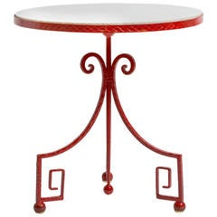 Iron and Marble-Top Greek Key Table