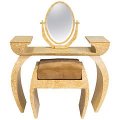 R & Y Augousti Bone Vanity Table and Bench