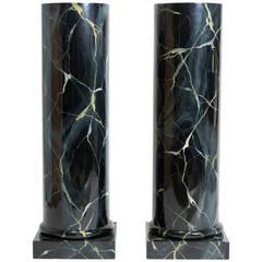 Pair of Faux Marble Wood Column Pedestals