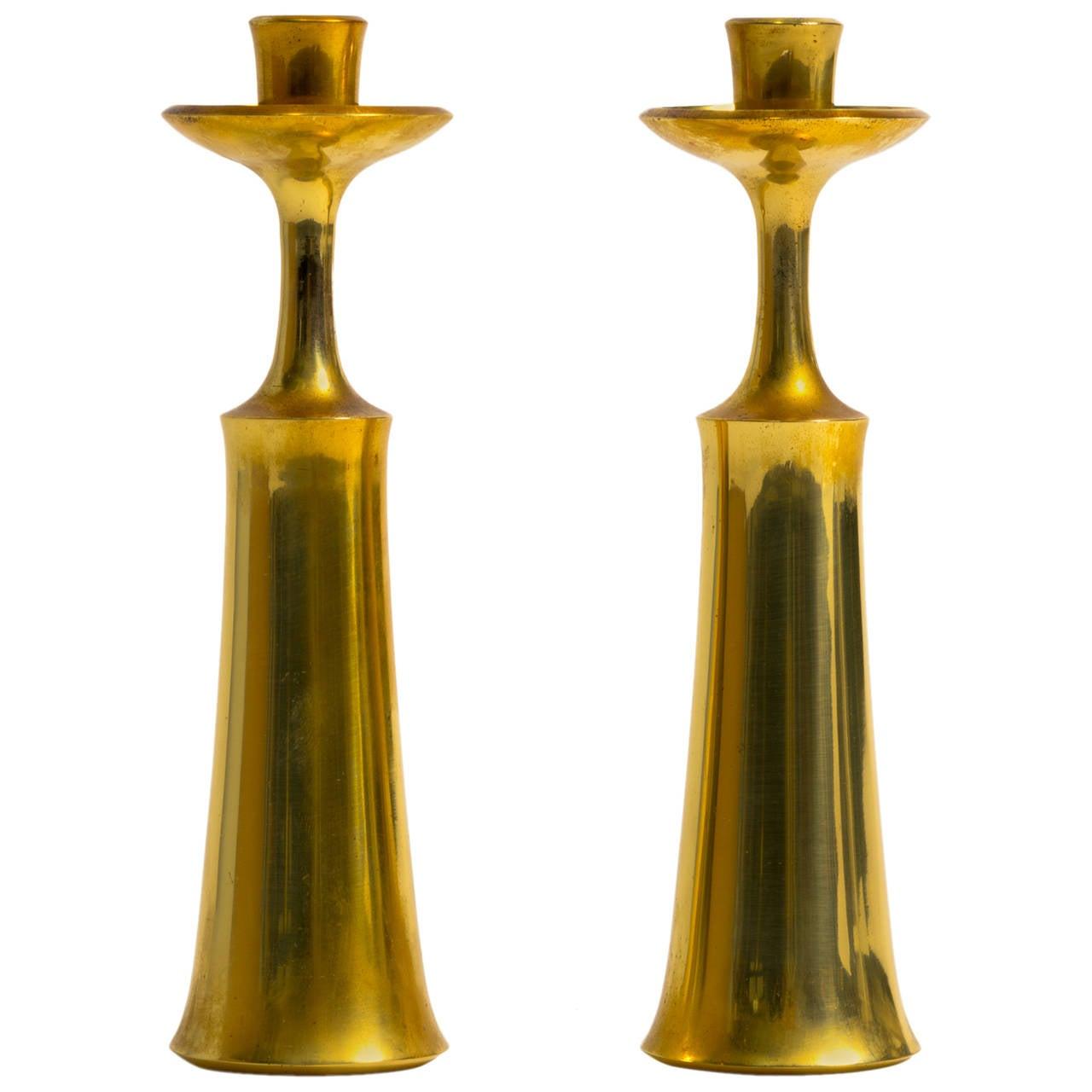 Pair of Brass Candlesticks by Jens Quistgaard for Dansk