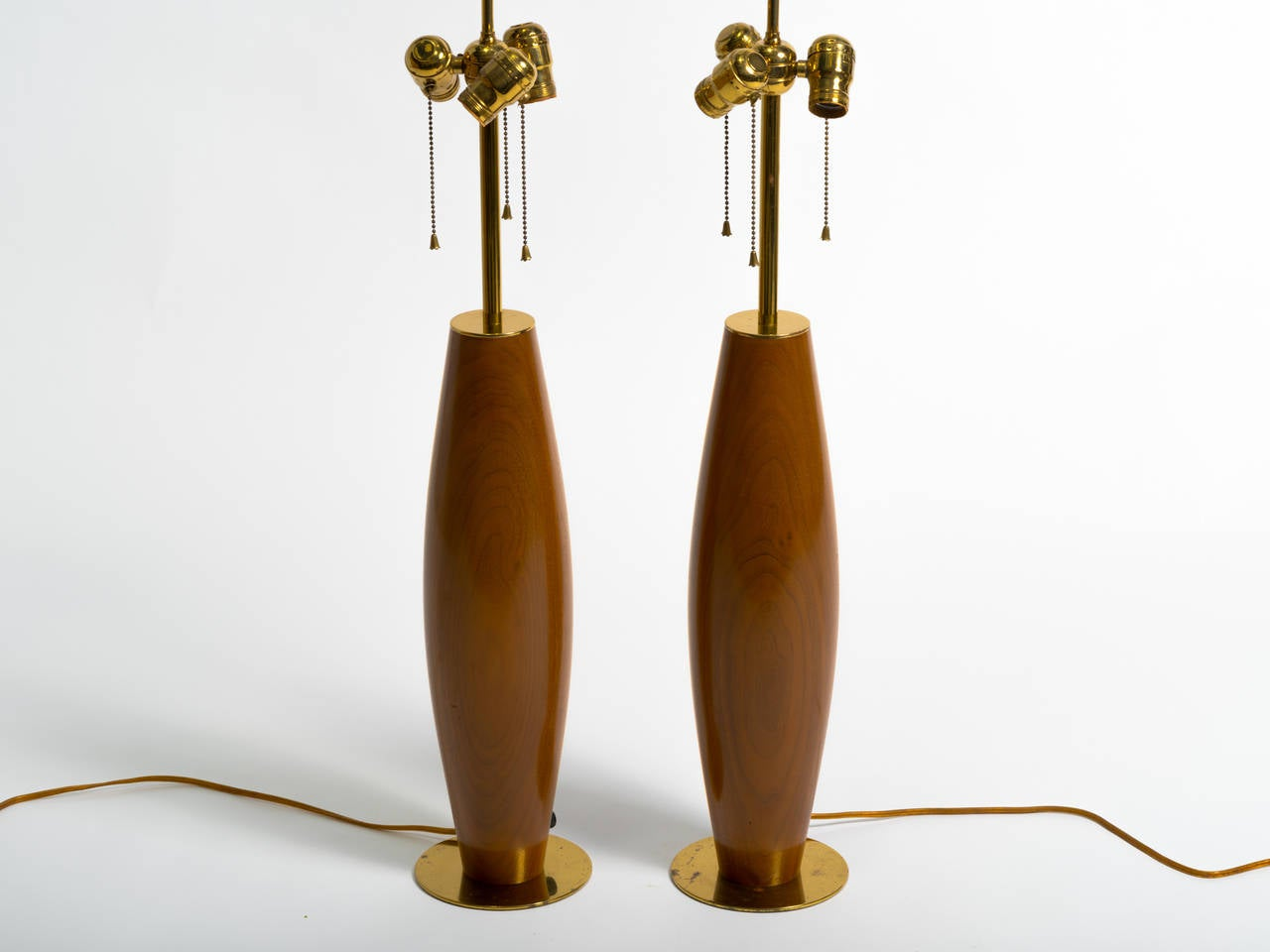 Mid-Century Modern Pair of Monumental Walnut and Brass Table Lamps For Sale