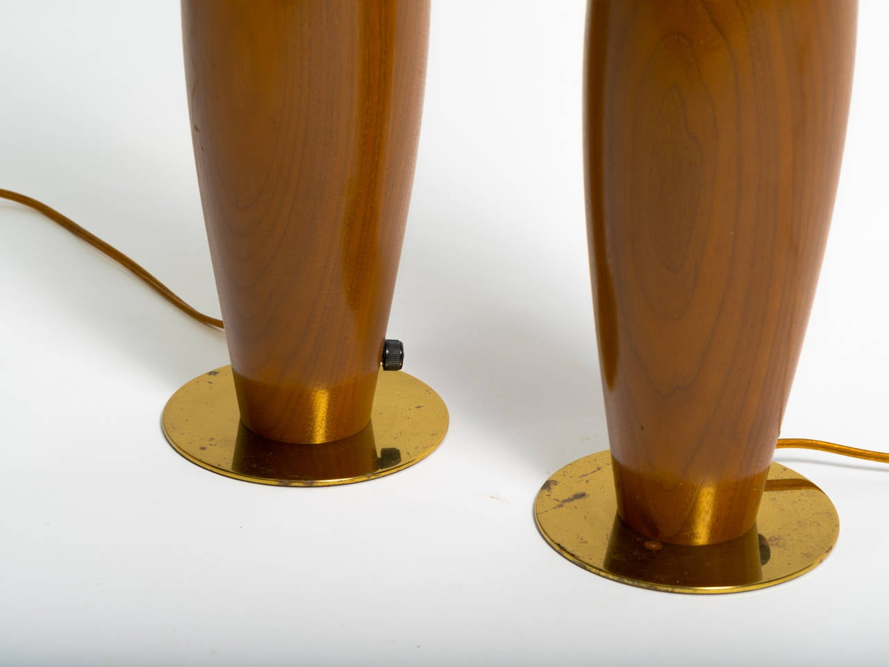 Mid-20th Century Pair of Monumental Walnut and Brass Table Lamps For Sale