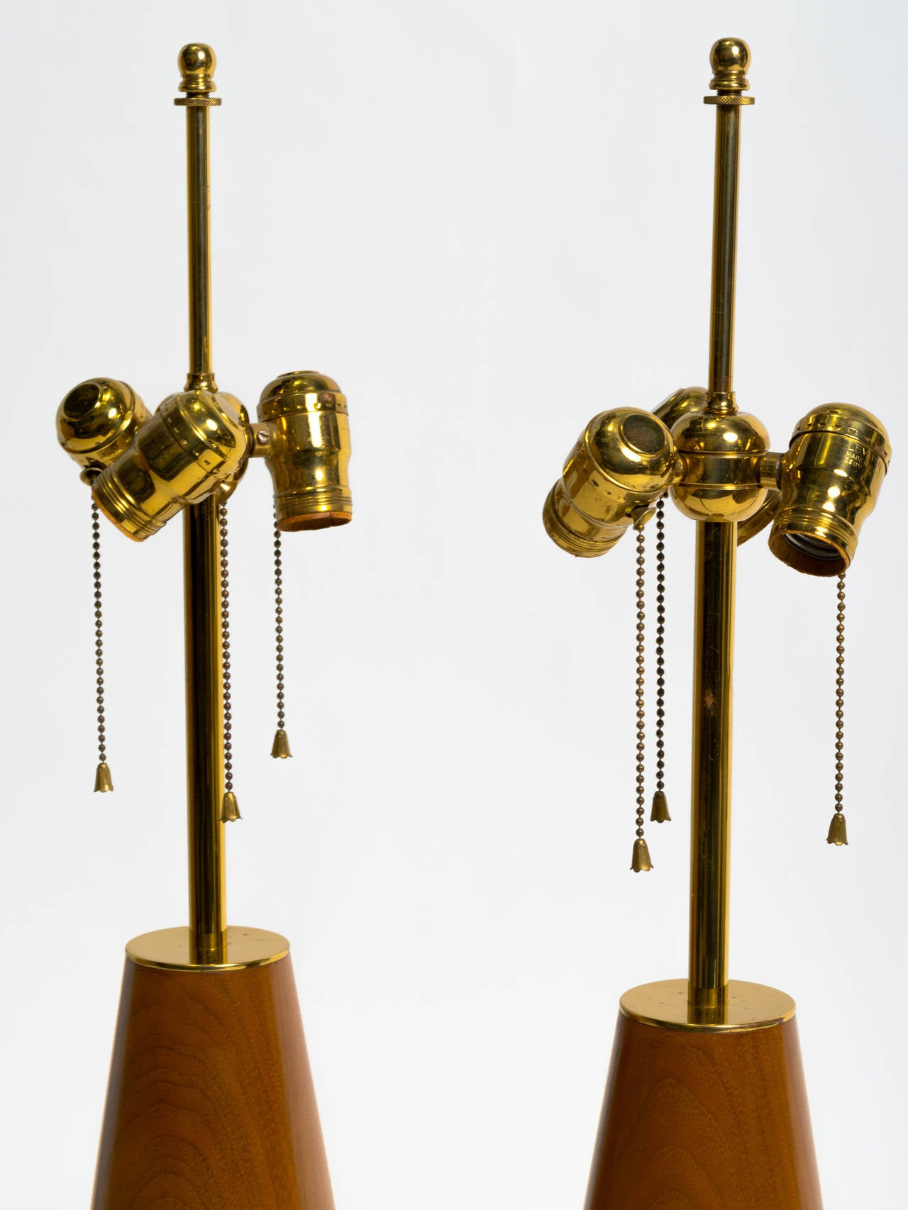 Pair of Monumental Walnut and Brass Table Lamps For Sale 1