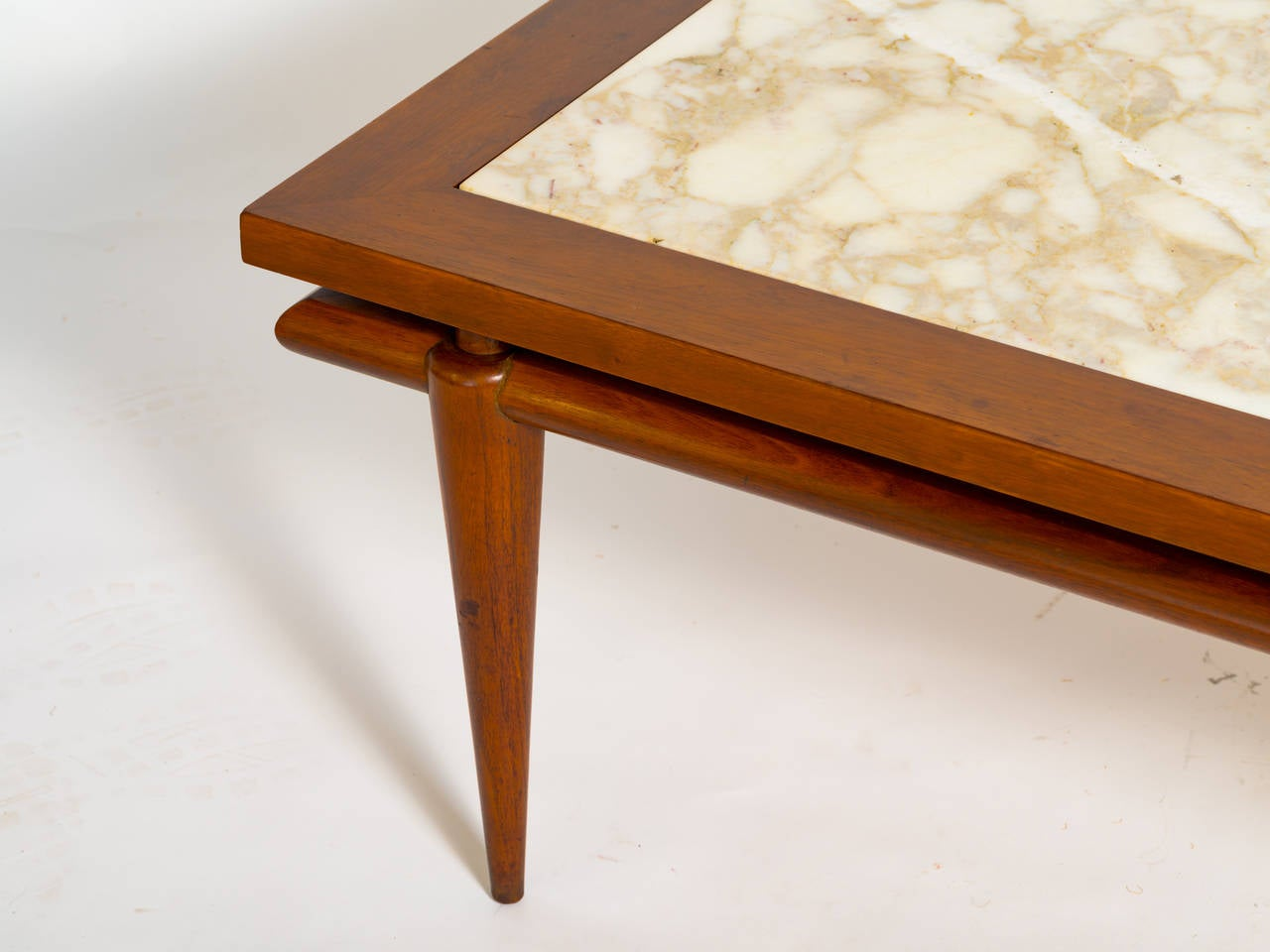 Robsjohn gibbings marble and walnut coffee table at 1stdibs for Marble and walnut coffee table