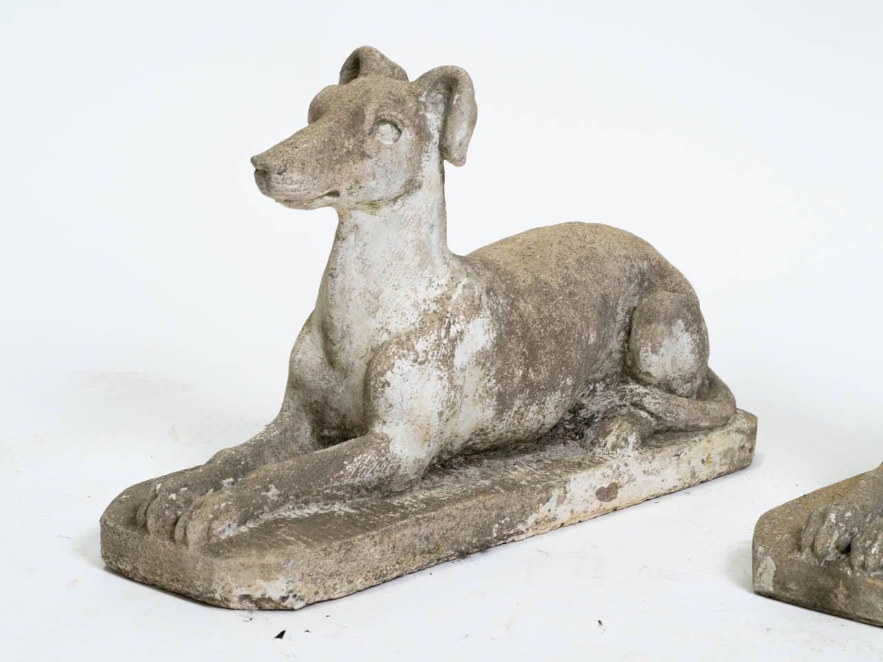 Pair Of Cement Dogs At 1stdibs