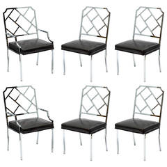Six Milo Baughman for DIA Chrome Lattice Back Dining Chairs