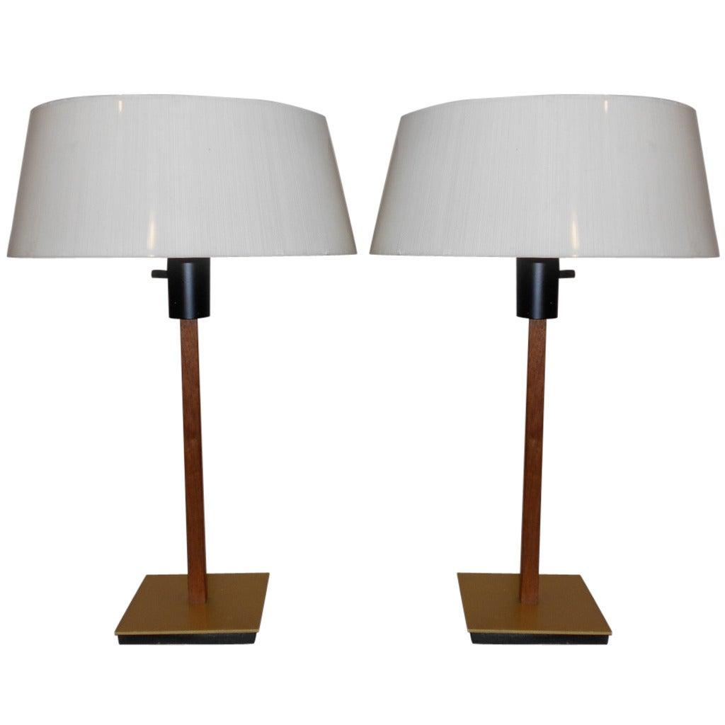 Pair of Walnut and Brass Lamps by Gerald Thurston