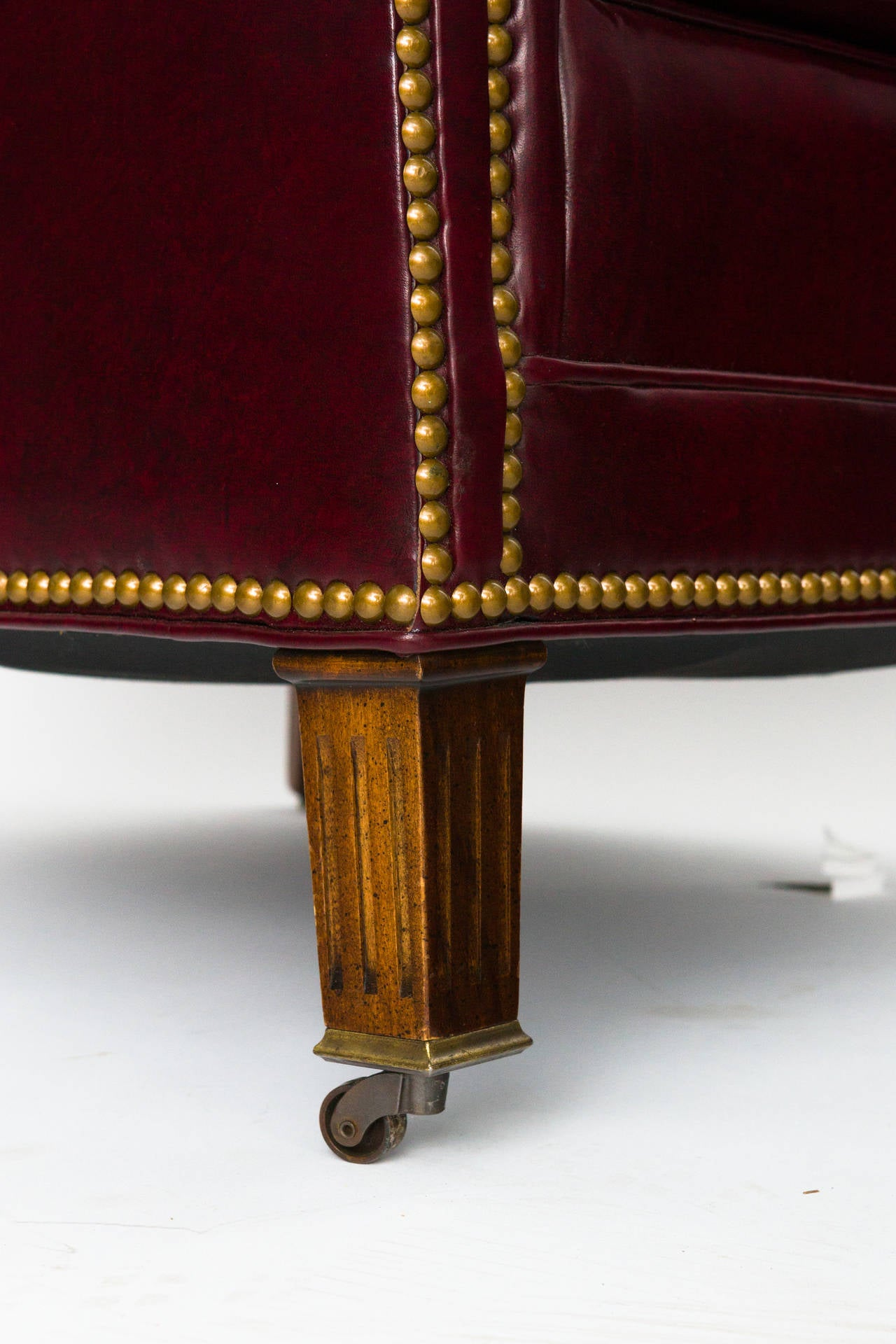 Tufted Red Leather Lounge Chair And Ottoman At 1stdibs