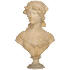 19th Century Victorian Marble Bust Of A Woman