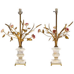Pair of Italian Marble Urn and Gilded Metal Floral Lamps