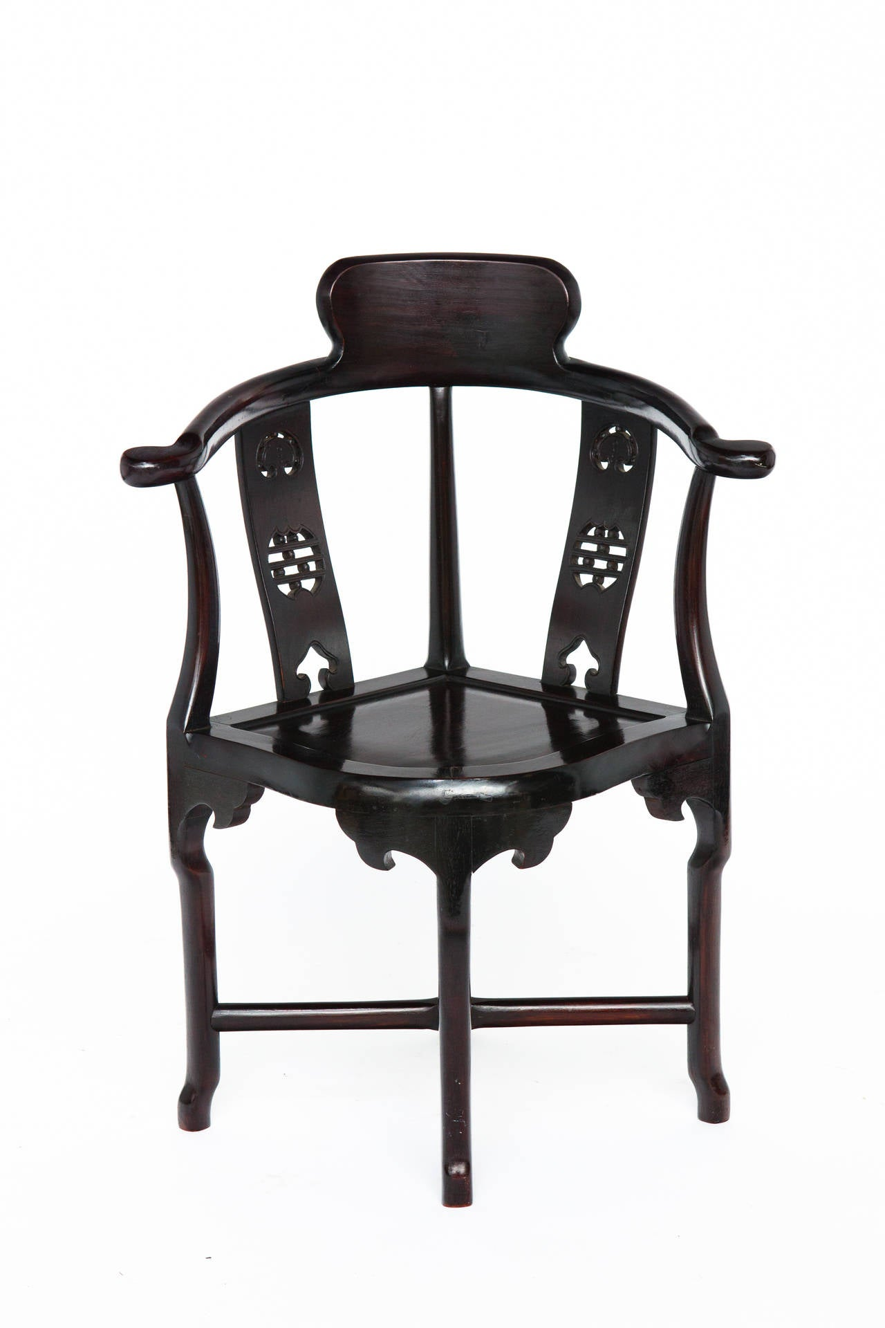 Pair Chinese Rosewood Corner Chairs at 1stdibs